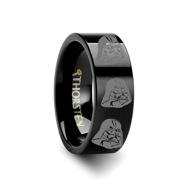 Star Wars Darth Vader Black Tungsten Engraved Ring from Vansweden Jewelers