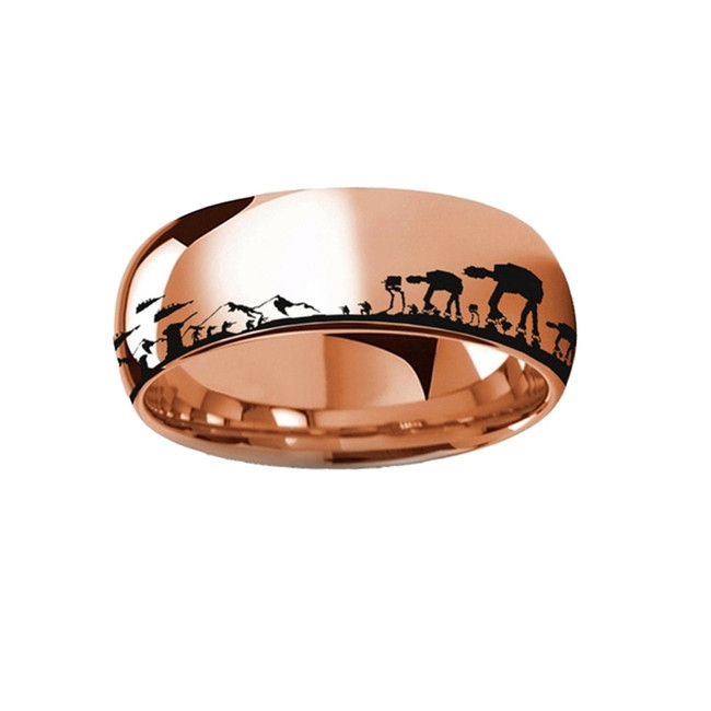 Star Wars Hoth Battle Engraved Rose Gold Plated Tungsten Ring from Vansweden Jewelers