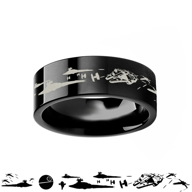 Star Wars Battle Scene Black Tungsten Ring from Vansweden Jewelers