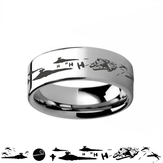Star Wars Battle Scene Tungsten Ring from Vansweden Jewelers