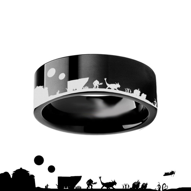 Tatooine Star Wars New Hope Jawas Jabbas Palace Black Tungsten Engraved Ring from Vansweden Jewelers
