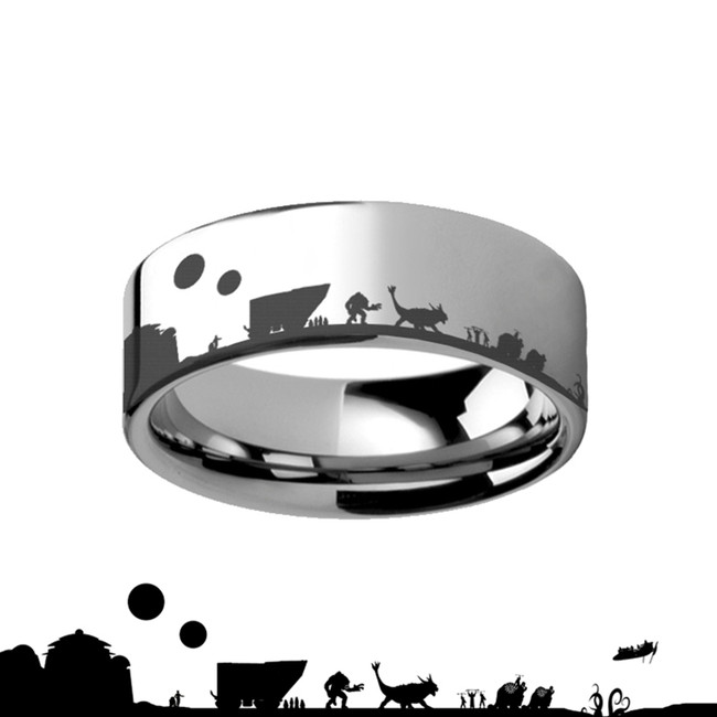 Tatooine Star Wars New Hope Jawas Jabbas Palace Tungsten Engraved Ring from Vansweden Jewelers