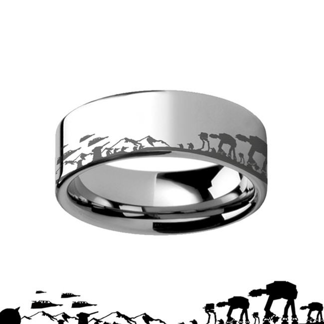 Titanium Hoth Battle Star Wars Alliance Galactic Imperial Invasion ATAT  Engraved Ring from Vansweden Jewelers