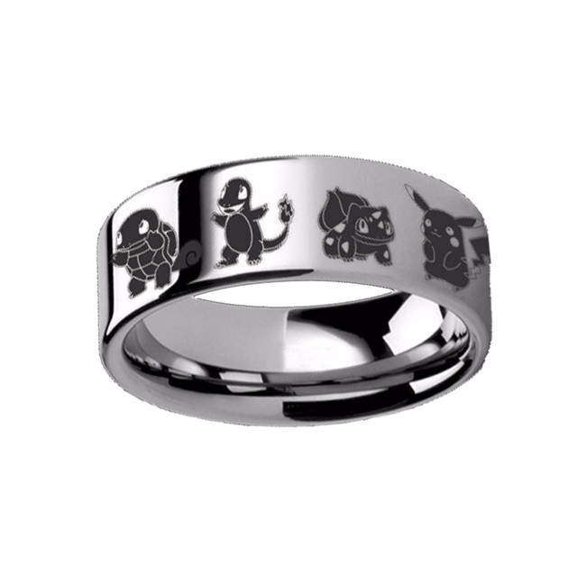 Pokemon Pikachu Charmander Squirtle Bulbasaur Engraved Tungsten Ring from Vansweden Jewelers