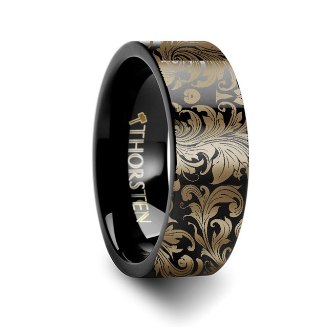 Leochares Filigree Leaf Pattern Engraved Black Tungsten Ring from Vansweden Jewelers