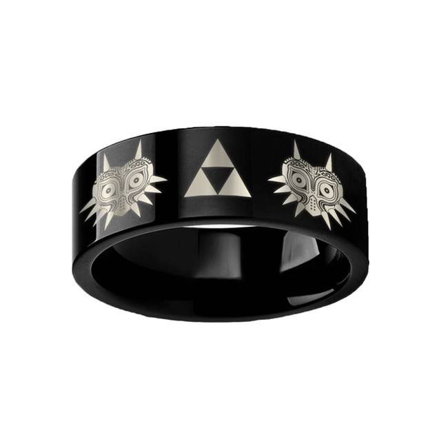 Legend of Zelda Majora Mask Triforce Engraved Black Tungsten Ring from Vansweden Jewelers