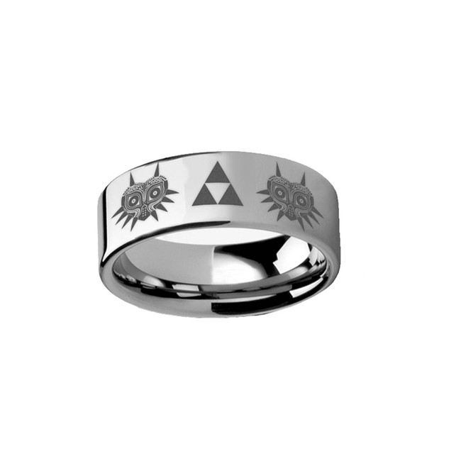 Legend of Zelda Majora Mask Triforce Engraved Tungsten Carbide Ring from Vansweden Jewelers