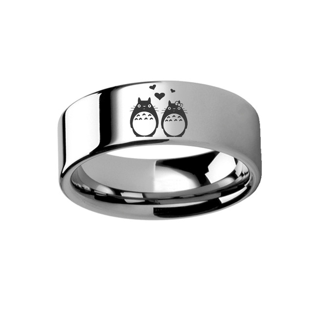My Neighbor Totoro Engraved Tungsten Ring from Vansweden Jewelers