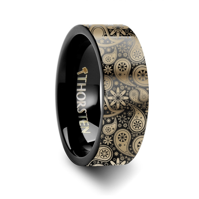 Lygdamis Paisley Pattern Black Tungsten Engraved Ring from Vansweden Jewelers