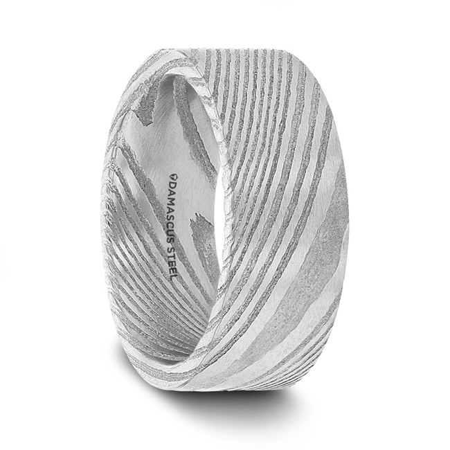 Bolina Grey Flat Damascus Steel Men's Wedding Band from Vansweden Jewelers