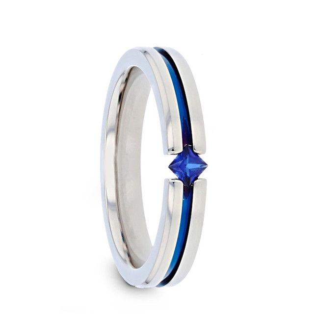 Matris Tension Set Blue Sapphire Titanium Women's Wedding Band from Vansweden Jewelers