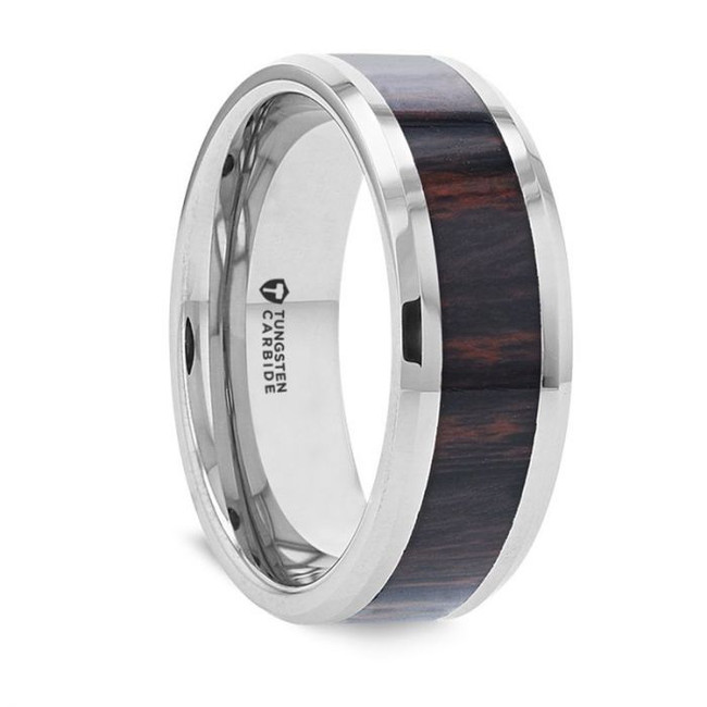 Titan Tungsten Men's Wedding Band with Mahogany Inlay from Vansweden Jewelers