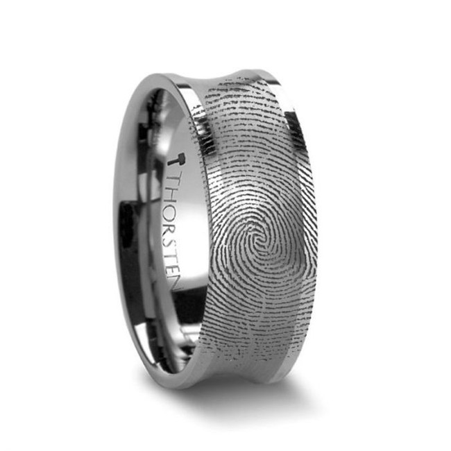 Rhoecus Custom Fingerprint Engraved Concave Tungsten Wedding Band from Vansweden Jewelers