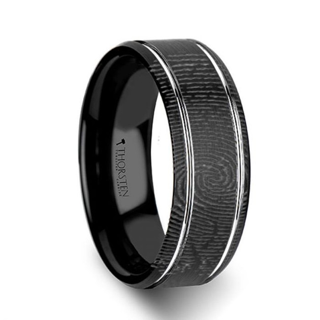 Eudoxus Custom Fingerprint Engraved Black Tungsten Wedding Band from Vansweden Jewelers