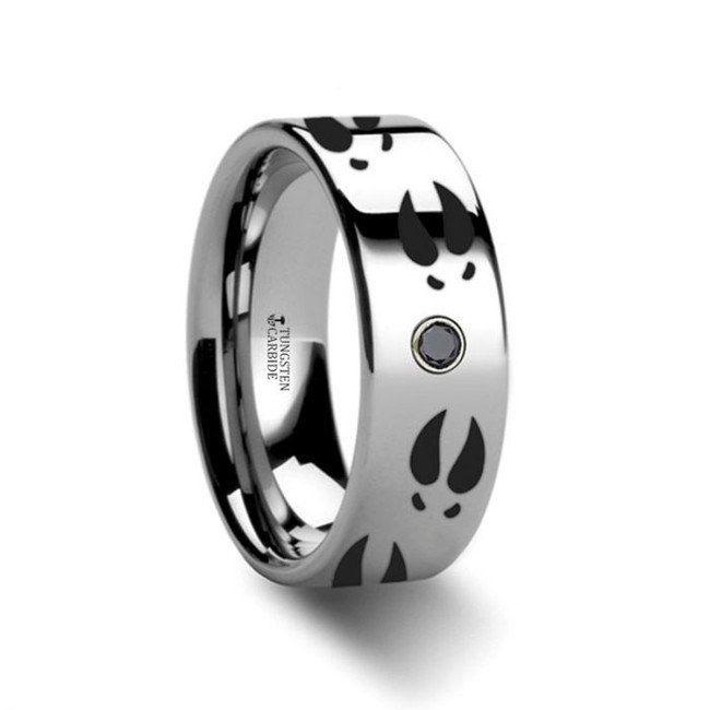 Deer Print Engraved Tungsten Wedding Band with Diamond from Vansweden Jewelers