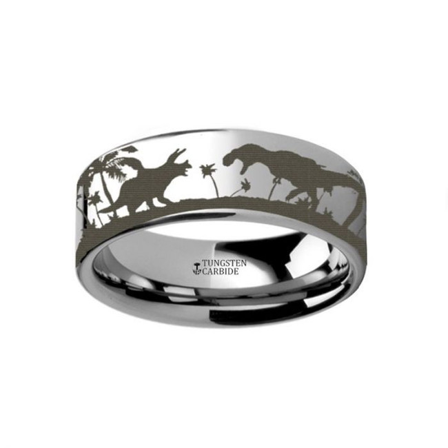 Dinosaur Scene Engraved Tungsten Wedding Band from Vansweden Jewelers