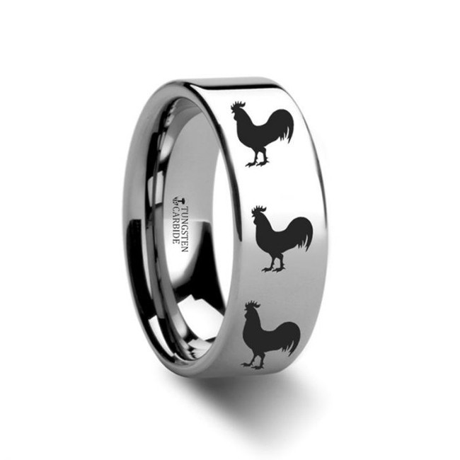 Rooster Engraved Tungsten Wedding Band from Vansweden Jewelers