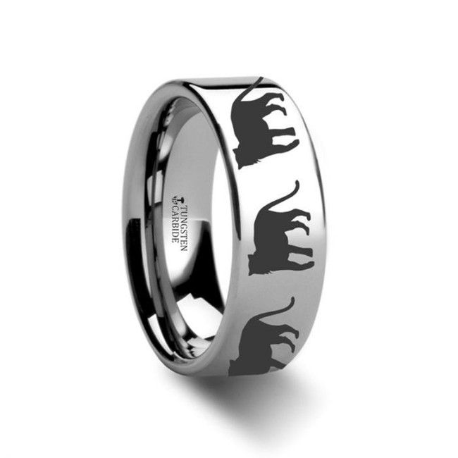Tiger Print Engraved Tungsten Wedding Band from Vansweden Jewelers