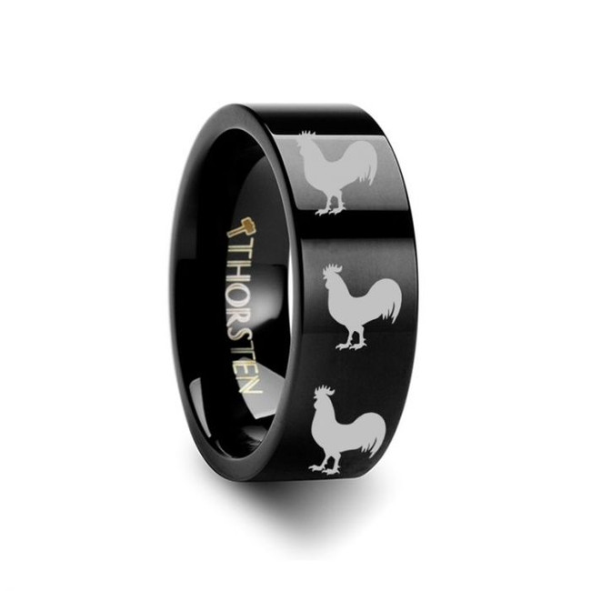 Rooster Engraved Black Tungsten Wedding Band from Vansweden Jewelers