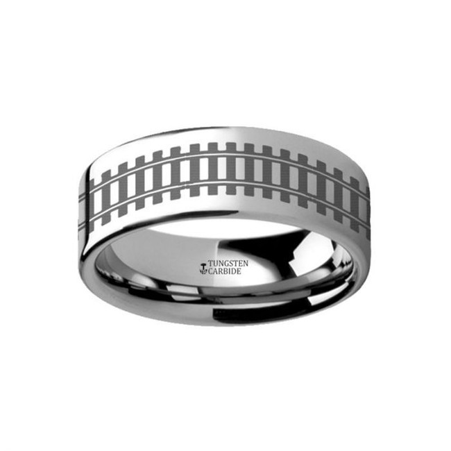 Railroad Tracks Engraved Tungsten Wedding Band from Vansweden Jewelers
