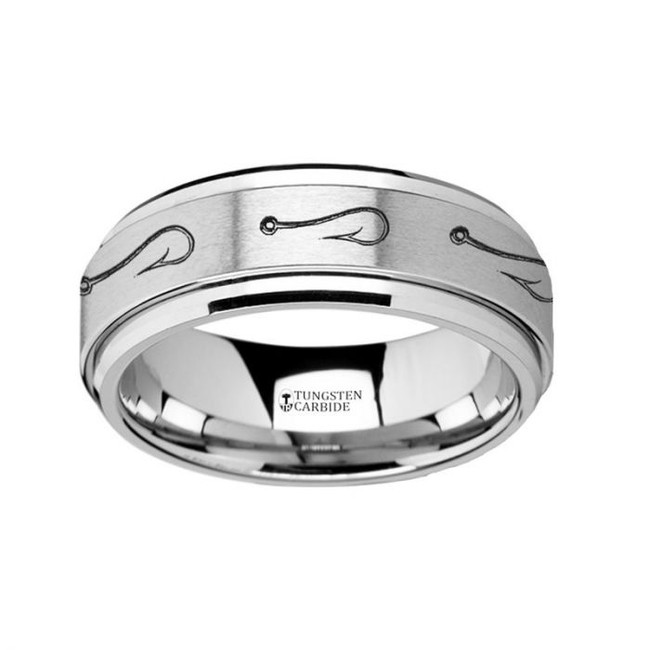 Fish Hook Engraved Tungsten Spinner Wedding Band from Vansweden Jewelers
