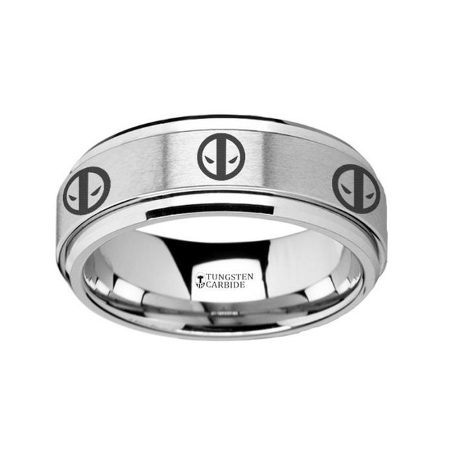 Deadpool Symbol Engraved Tungsten Spinner Wedding Band from Vansweden Jewelers