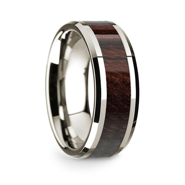 Agatharchus 14k White Gold Men's Wedding Band with Bubinga Wood Inlay from Vansweden Jewelers
