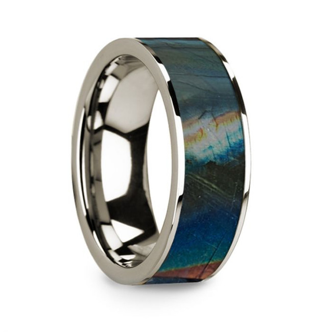 Zosimas 14k White Gold Men's Wedding Band with Spectrolite Inlay from Vansweden Jewelers