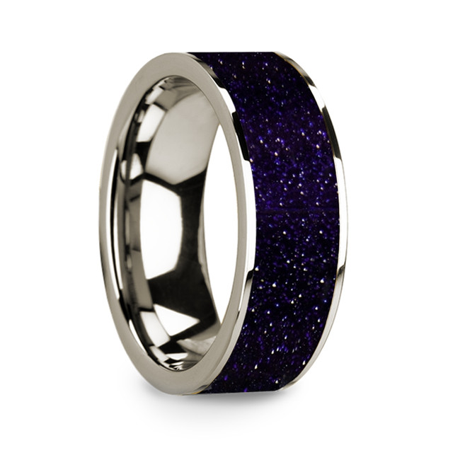 Isocrates 14k White Gold Men's Wedding Band with Purple Goldstone Inlay from Vansweden Jewelers