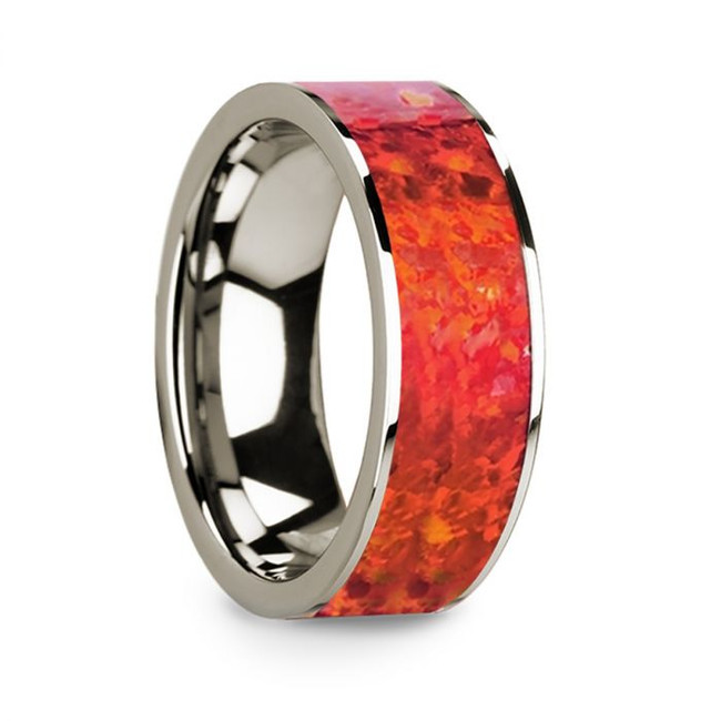 Pratinas 14k White Gold Men's Wedding Band with Red Opal Inlay from Vansweden Jewelers