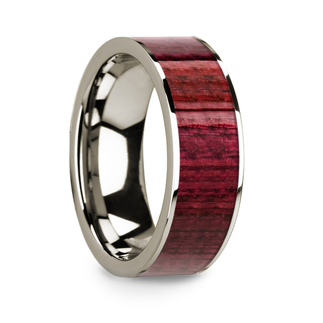 Ptolemy 14k White Gold Men's Wedding Band with Purpleheart Inlay from Vansweden Jewelers