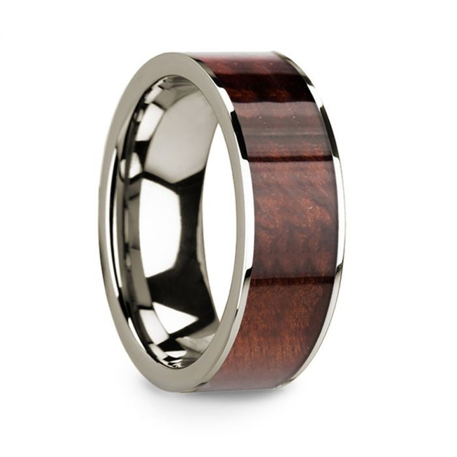 Menedaius 14k White Gold Men's Wedding Band with Redwood Inlay from Vansweden Jewelers