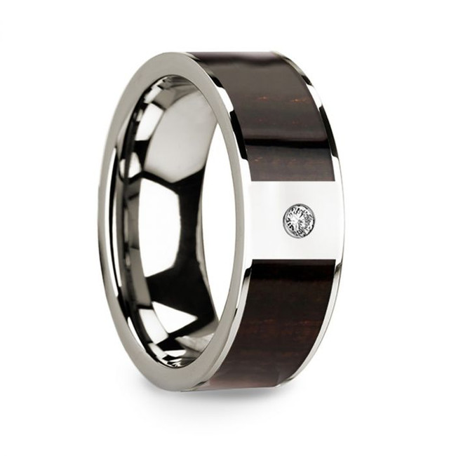 Heracleides 14k White Gold Men's Wedding Band with Ebony Wood Inlay & Diamond from Vansweden Jewelers