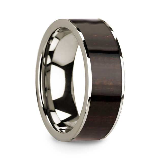 Anaxandra 14k White Gold Men's Wedding Band with Ebony Wood Inlay from Vansweden Jewelers