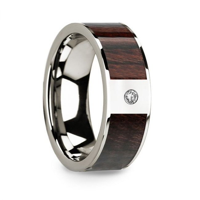 Evagoras 14k White Gold Men's Wedding Band with Bubinga Wood Inlay & Diamond from Vansweden Jewelers