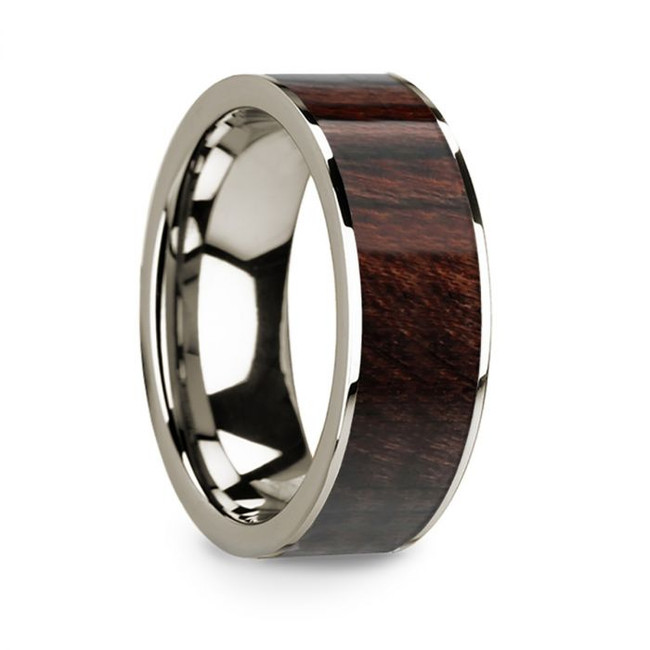 Echestratus 14k White Gold Men's Wedding Band with Bubinga Wood Inlay from Vansweden Jewelers