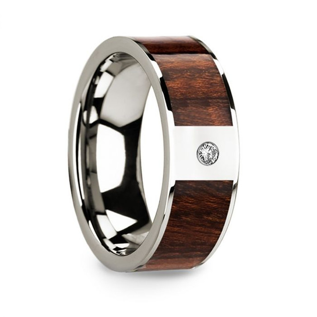 Ibycus 14k White Gold Men's Wedding Band with Carpathian Wood Inlay & Diamond from Vansweden Jewelers