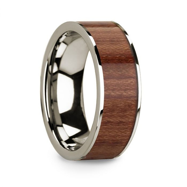 Ecphantus 14k White Gold Men's Wedding Band with Rosewood Inlay from Vansweden Jewelers