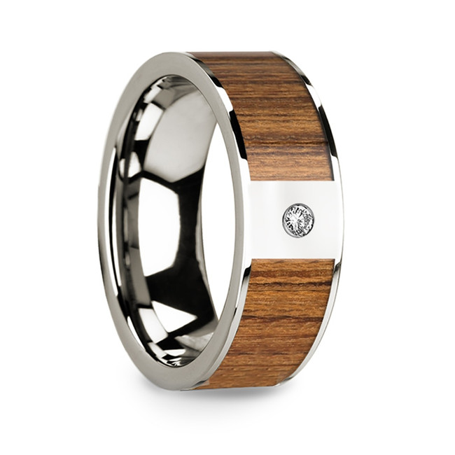 Aristeas 14k White Gold Men's Wedding Band with Teak Wood Inlay & Diamond from Vansweden Jewelers