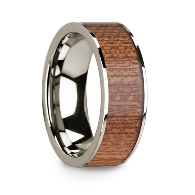 Alcetas 14k White Gold Men's Wedding Band with Cherry Wood Inlay from Vansweden Jewelers