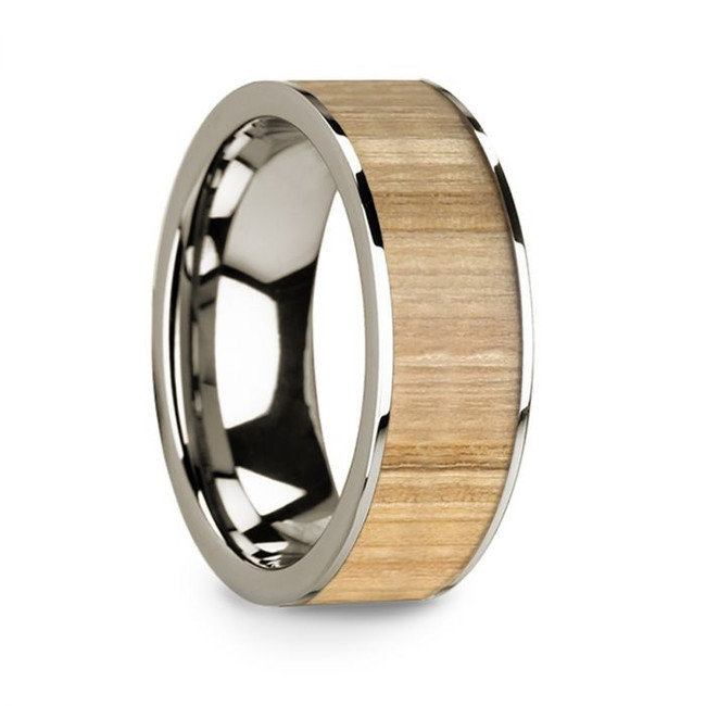 Echo 14k White Gold Men's Wedding Band with Ash Wood Inlay from Vansweden Jewelers