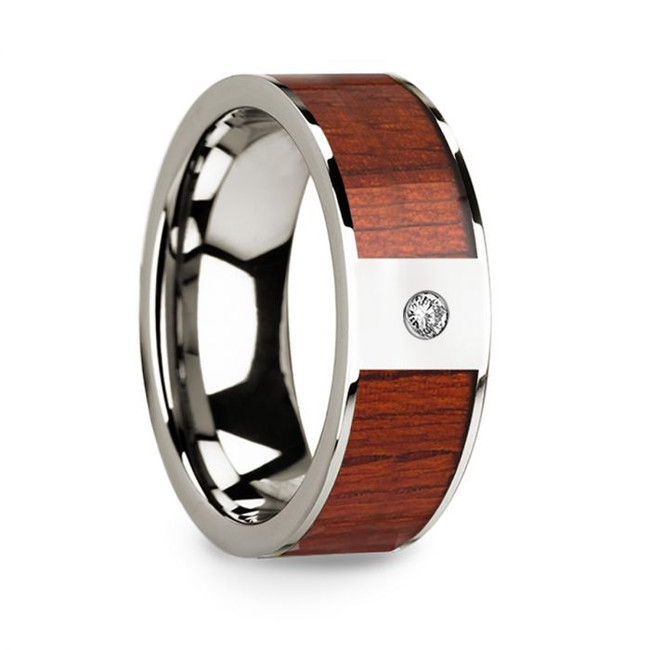 Anaxilas 14k White Gold Men's Wedding Band with Padauk Wood Inlay & Diamond from Vansweden Jewelers