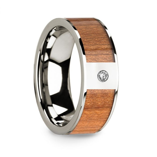 Lamprus 14k White Gold Men's Wedding Band with Diamond Sapele Wood Inlay from Vansweden Jewelers