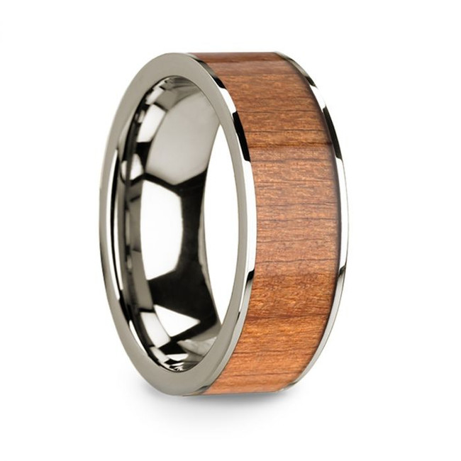 Sporus 14k White Gold Men's Wedding Band with Sapele Wood Inlay from Vansweden Jewelers