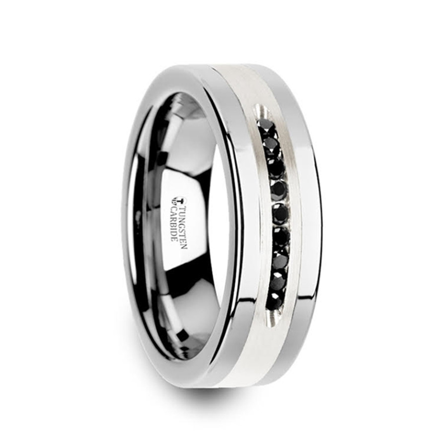 Chelone Flat Tungsten Wedding Band with Brushed Silver Inlay and 9 Black Diamonds from Vansweden Jewelers