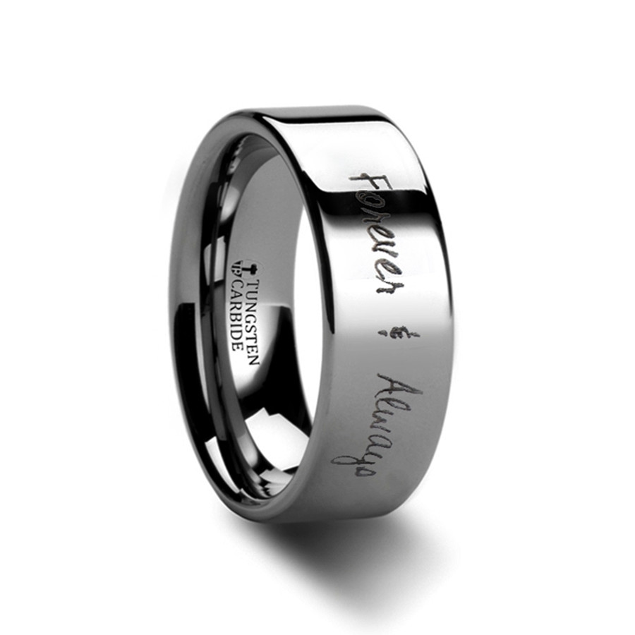 Pandora Flat Polished Tungsten Ring with Custom Handwriting Engraving from Vansweden Jewelers