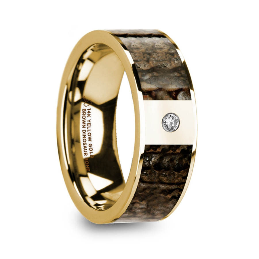 Abia Polished 14k Yellow Gold Brown Dinosaur Bone Inlay Men S