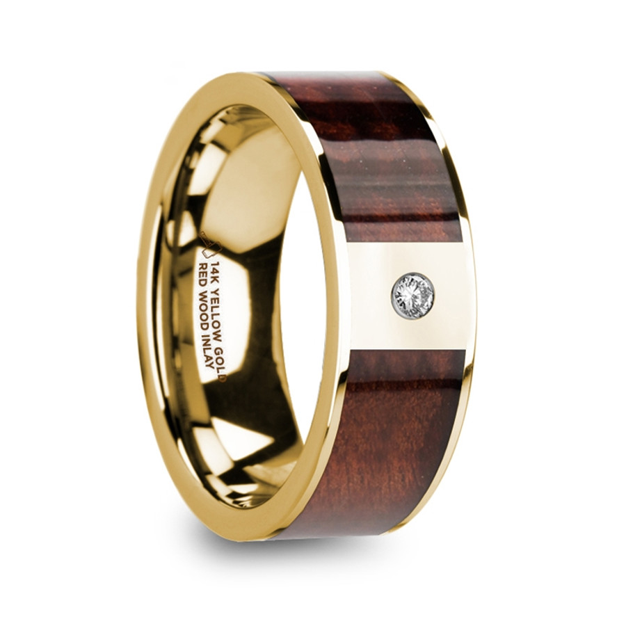The Molurus 14k Yellow Gold Men's Polished Wedding Band with Red Wood Inlay & Diamond from Vansweden Jewelers