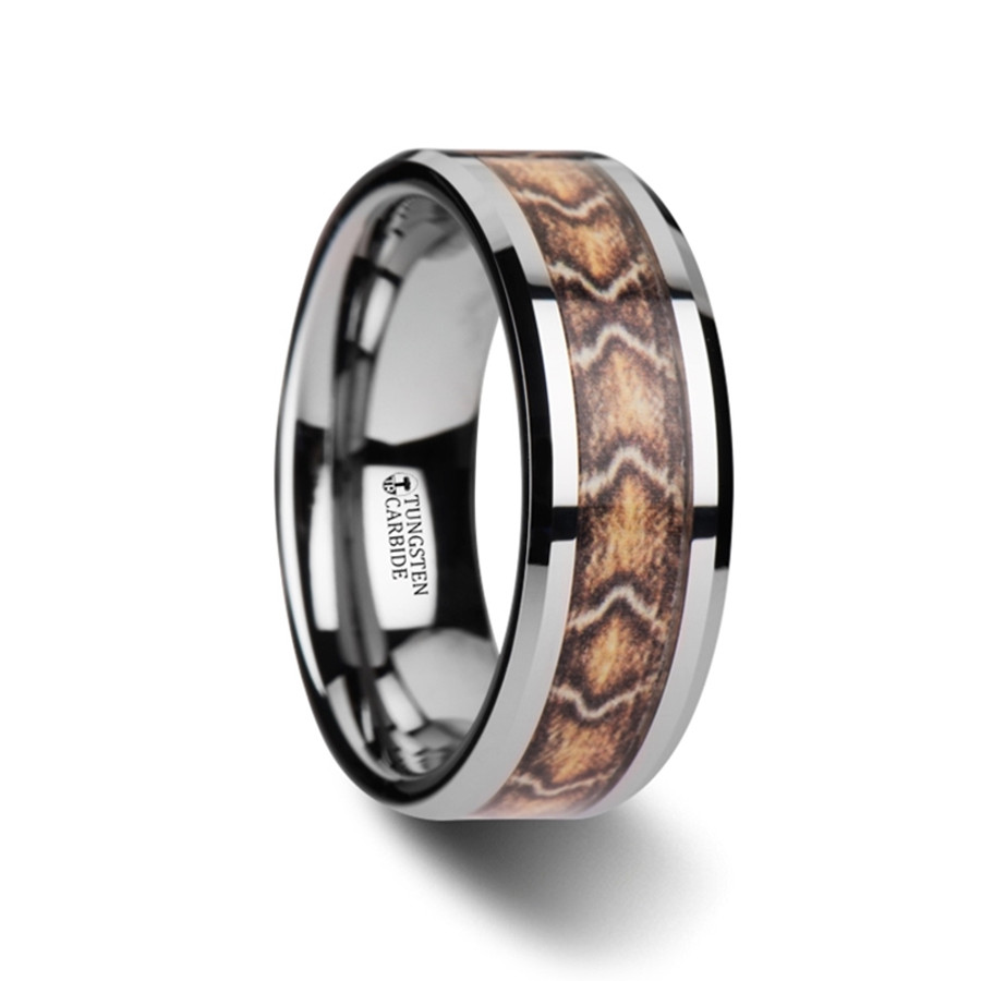 The Alcimedon Tungsten Wedding Ring with Boa Snake Skin Design Inlay from Vansweden Jewelers
