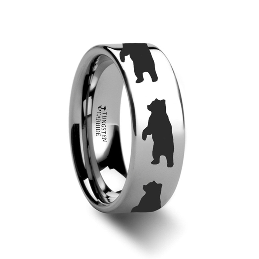 The Aglaulus Standing Bear Print Ring Engraved Flat Tungsten Ring from Vansweden Jewelers